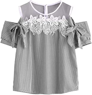 FORUU Women Short Sleeve Off Shoulder Lace Striped Blouse Casual Tops T-Shirt