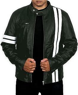 Men's Genuine Lambskin Leather Jacket (Black, Racer Jacket) - 1501384