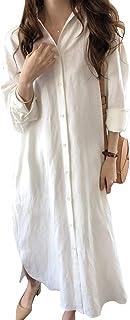 chouyatou Women's Elegant Rolled Up Sleeve Button Down Lightweight Loose Fit Linen Long Blouse Shirt Maxi Dress