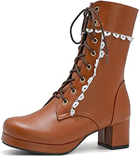 Platform Square High Heels Booties, Faux PU Lace-Up Platfrom Ankle Chunky Heel Booties Winter/Spring/Autumn Ankle Boots