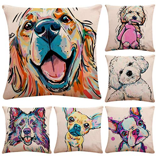 Polyester Throw Pillow Case Cushion Cover Home Sofa Decorative(Cover Only,No Insert) (18x18 inch/ 45x45cm,6 Pack Lovely Dog)