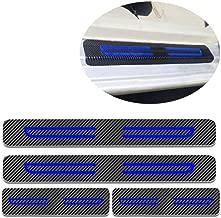 For Citroen C1 C2 C3 C4 C5 C6 Door Sill Protector Reflective 4D Carbon Fiber Sticker Door Entry Guard Door Sill Scuff Plate Stickers Auto Accessories 4Pcs Blue