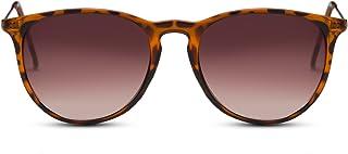 4c22d78dd5 Cheapass Gafas de Sol Negro Lentes Redondos Marrón Leo Vintage Mujer Hombre