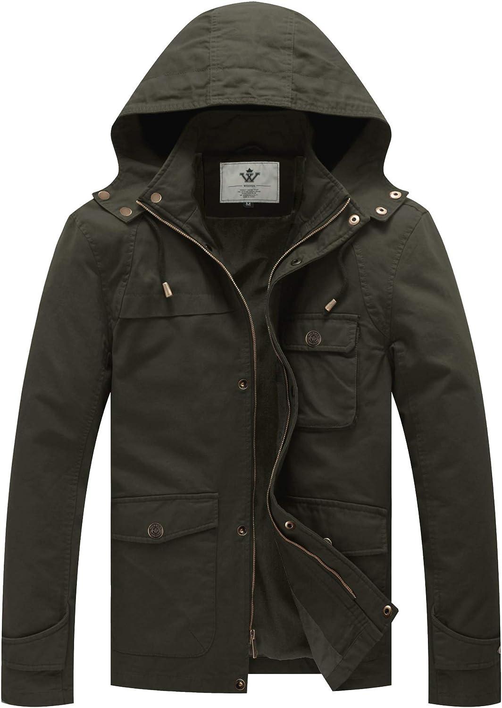 WenVen Men's Lightweight Windbreaker Casual Cotton hooded Lined Military Jacket