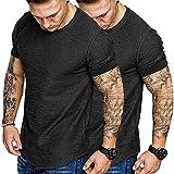 COOFANDY Men Workout T Shirt Pack Cotton Running Short Sleeve Longline Solid Tee