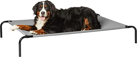 AmazonBasics Extra Large Elevated Cooling Pet Dog Cot Bed - 60 x 37 x 9 Inches, Grey