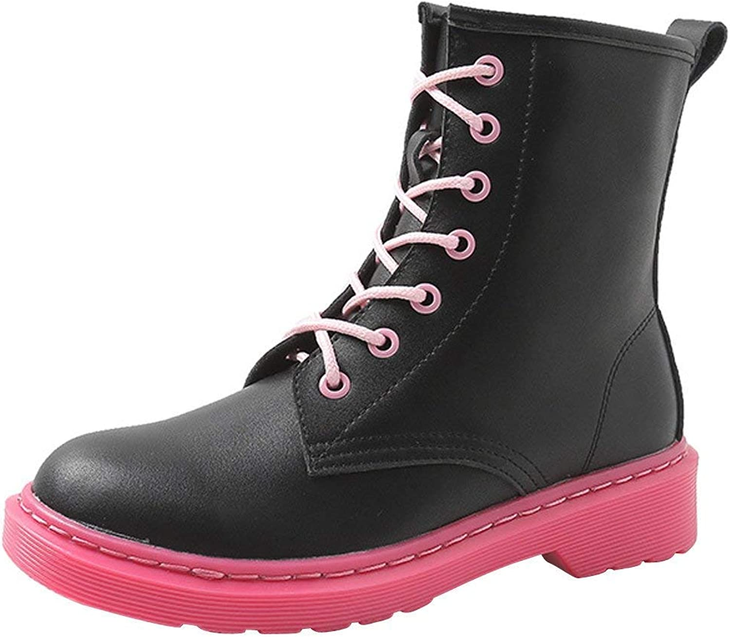 F1rst Rate Womens Heel Motorcycle Boots Platform Waterproof Lace-up Short Ankle Booties