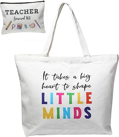 ECOHIP Teacher Appreciation Gifts for women Christmas Supplies Canvas Tote Makeup Bag Pencil Pouch Case