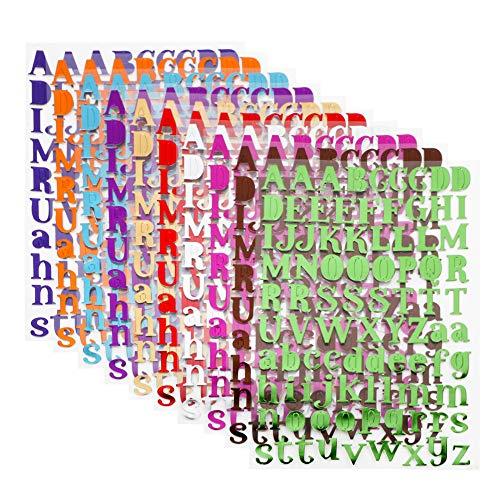 VINFUTUR 10 Blatt Buchstaben Aufkleber Selbstklebend 10 Farbe Buchstaben Stickers Glitzer Scrapbooking Alphabet Stickers für Grußkarten Sammelalbum Fotoalbum Tagebuch Handbuch Basteln Deko