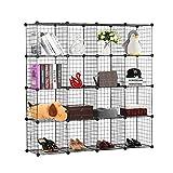 BASTUO 16 Cubes Wire Storage Cabinet DIY Bookcase Shelf Metal Modular Cubes Organizer,Closet for Toys,Books,Clothes,Black