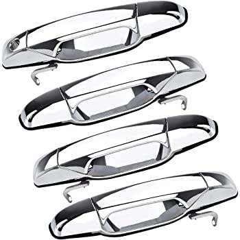 NovelBee 4pcs Front Rear Exterior Chrome Door Handle Set Fit for 2007-2013 Cadillac Escalade Chevy Avalanche Silverado Suburban Tahoe GMC Sierra Yukon Pickup Truck SUV