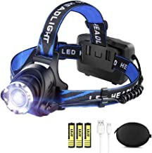 LED Rechargeable Headlamp Flashlight LBJD Super Bright Headlamps with 3 Rechargeable Batteries for Long Working Time, USB ...
