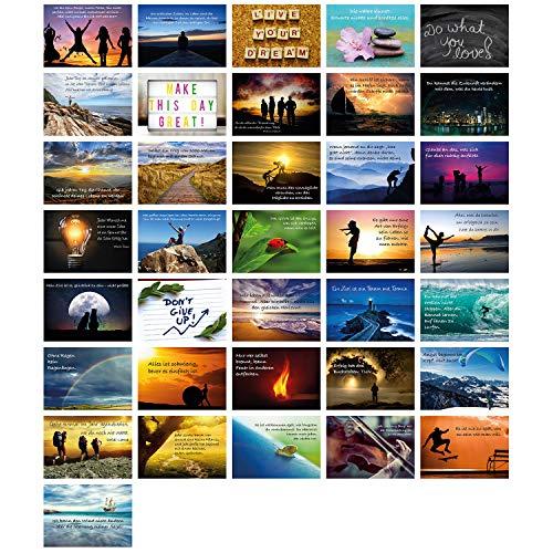 Clever Pool Motivationskarten 36 Stück - Postkarten mit Lebensweisheiten - perfektes Geschenk - verschiedene inspirierenden Sprüche - hochwertig und edel verarbeitet - Gefühlskarten für das Büro