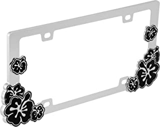 Hibiscus (Black) - License Plate Frame