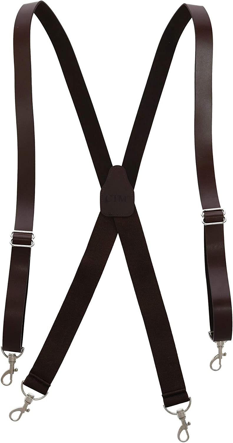 CTM Men's Smooth Coated Leather Suspenders with Metal Swivel Hook Ends