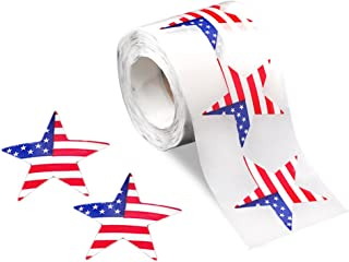 250 American Flag Star Stickers (1 Roll of 250 Stickers)