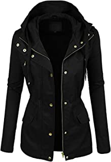 FASHION BOOMY Womens Zip Up Safari Military Anorak Jacket...