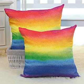 DuckBaby Rainbow Personalized Pillowcase Work of Art with Vivid Colors with Rainbow Tones Abstract Lines Painted with Brush Cushion W18 x L18 inch x 2 Multicolor