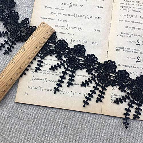 5.5cm brede prachtige witte zwarte kant guipure bloemen borduurwerk franje lint gordijnen kleding kwast naaien appliques materiaal, sectie a zwart