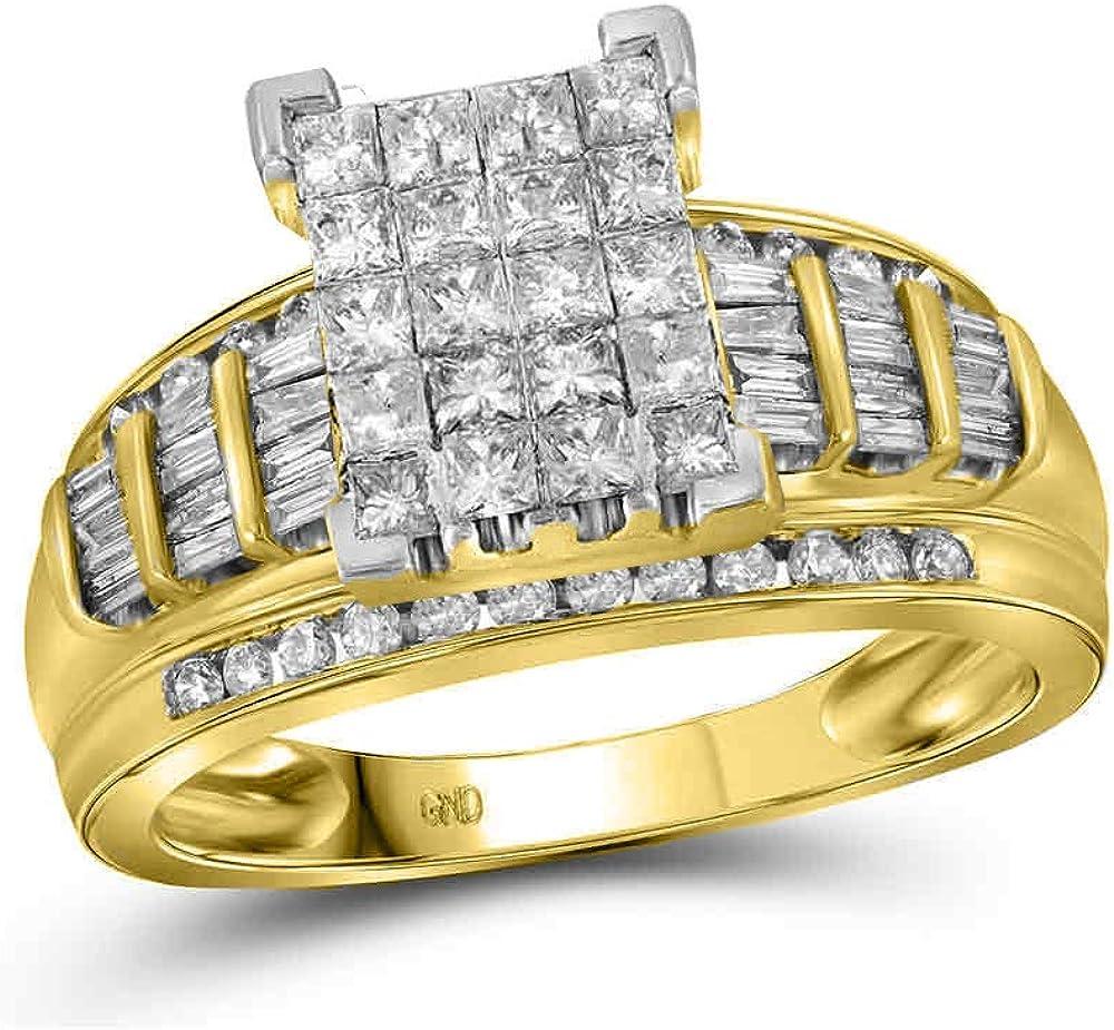 10k Yellow Gold Ranking TOP2 Princess Diamond Sale special price Engageme Bridal Cluster Wedding