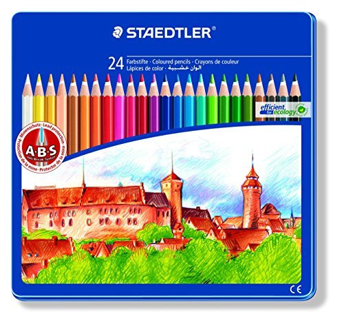Staedtler Noris Club 145 CM24 Colouring Pencils in Castle Design Tin - Assorted Colours by Noris