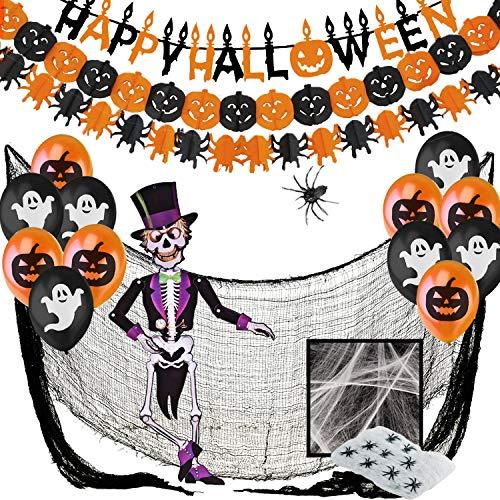 Decoracion Halloween Casa XXL, Decoraciónes Fiesta de Miedo - Banderas Banderinas,Guirnaldas Calabaza y Arañas,Globos,Tela De Araña,Paño Negro Espeluznante,Araña Gigante Y Esqueleto Articulado