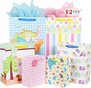 Fzopo Baby Gift Bag Assortment, Heavy Duty Paper Gift Bags (Pack of 12 Small, Medium, Extra Large Bags for Baby Shower, Birthday, Parties, Baby Girl, and Baby Boy)