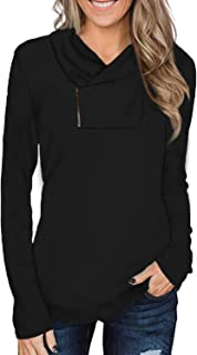 Cyanstyle Women's Long Sleeve Pullover Zipper Cowl Neck Tops Solid Sporty Sweatshirts