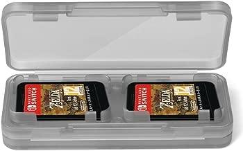 TNP Nintendo Switch Game Card Case Holder (2 Pack) - Portable Nintendo Switch Game Card Storage Holds Up to 4 Switch Game Cards/Micro SD Card Protection Accessories Kit (Black Transparent)