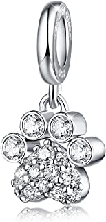 Dog Paw Prints Dangle Charms 925 Sterling Silver Love Animals Pets Bead Birthstone Charm with Cubic Zirconia Fits Bracelets Necklace