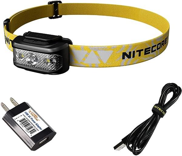 NITECORE NU17 超轻型可充电跑步头灯与红色光阅读灯带 LumenTac 适配器
