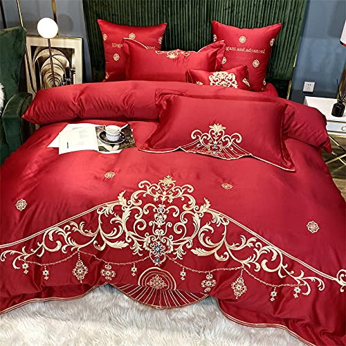 Exlcellexngce Bettbezug-Set,European Net Red Seide Cotton Princess Wind Pure Color Cotton Single Double Duvet Ist Schlafer-G_2.0m Bett (4 StüCke)