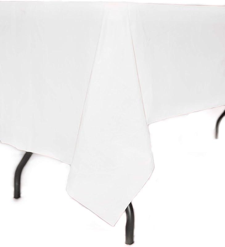 Vessel Goods 12 Pack Premium Disposable Plastic Tablecloth 54 X108 White Rectangular Table Cover