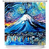 DiaNoche Designs Cortinas de Ducha de baño por Aja ANN – Van Gogh Never Saw Mount Fuji