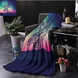 Luoiaax Stars Orbit Nebula Galaxy Comfortable Large Blanket Red Alien Silhouette Moonlight Fairy Tale Fantasy World Microfiber Blanket Bed Sofa or Travel W70 x L84 Inch