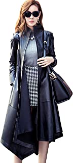 LAI MENG FIVE CATS Women's Instyles Faux Leather Long Gothic Winter Overcoat Parka Coats
