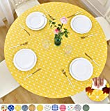 Rally Home Goods Indoor Outdoor Patio Round Fitted Vinyl Tablecloth, Flannel Backing, Elastic Edge, Waterproof Wipeable Plastic Cover, Yellow Checkerboard Pattern for 5-Seat Table of 36-42'' Diameter