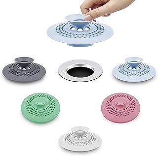 HengLiSam Lot de 5 bouchons de vidange en silicone pour baignoire, évier, baignoire, baignoire, filtre de protection pour ...