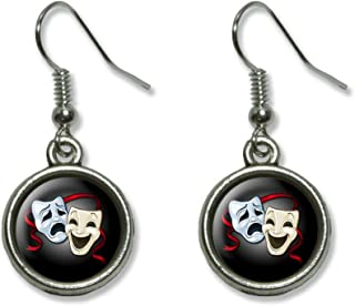 Drama Comedy Tragedy Masks - Acting Theatre Theater Novelty Dangling Dangle Drop Charm Earrings