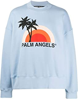 PALM ANGELS Luxury Fashion Mens PMBA026S206310163188 Light Blue Sweatshirt | Spring Summer 20