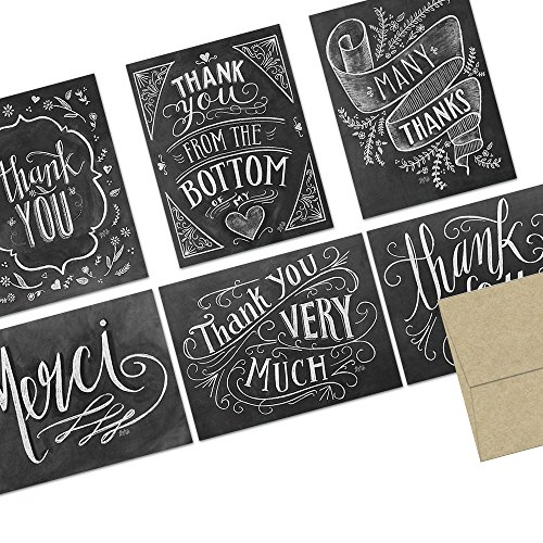 Note Card Cafe Thank You Cards with Kraft Envelopes | 36 Pack | Rustic Chalkboard Thank You | Blank Inside, Glossy Finish | for Greeting Cards, Occasions, Birthdays, Gifts