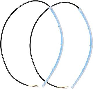 VORCOOL 2Pcs Flexível LEVOU Farol Bar Dupla Correia Running Luz Decorativa Da Lâmpada (Azul)