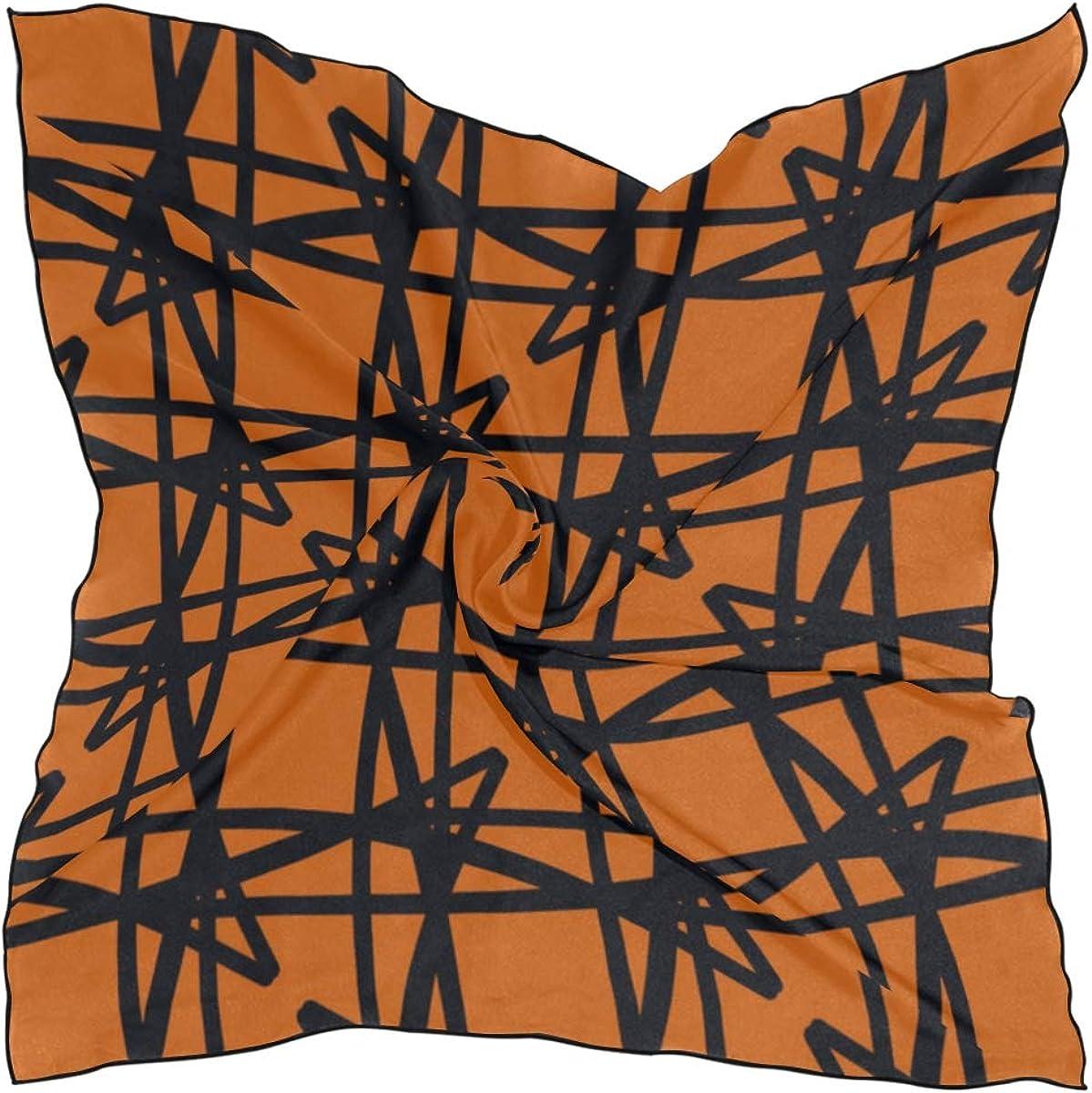 Women's Soft Polyester Silk Square Scarf Abstract Medieval Modern Grid Art Creative Fashion Print Head & Hair Scarf Neckerchief Accessory-23.6x23.6 Inch
