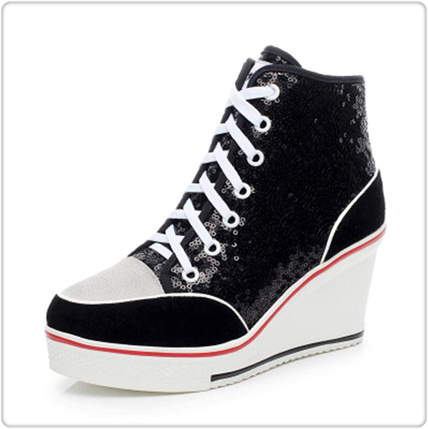 NNHLPO& Women Badge Wedges High Top Platform shoes Woman Sneakers Casual Trainers Elevator shoes High Heels Canvas shoes Glitter Black 8.5