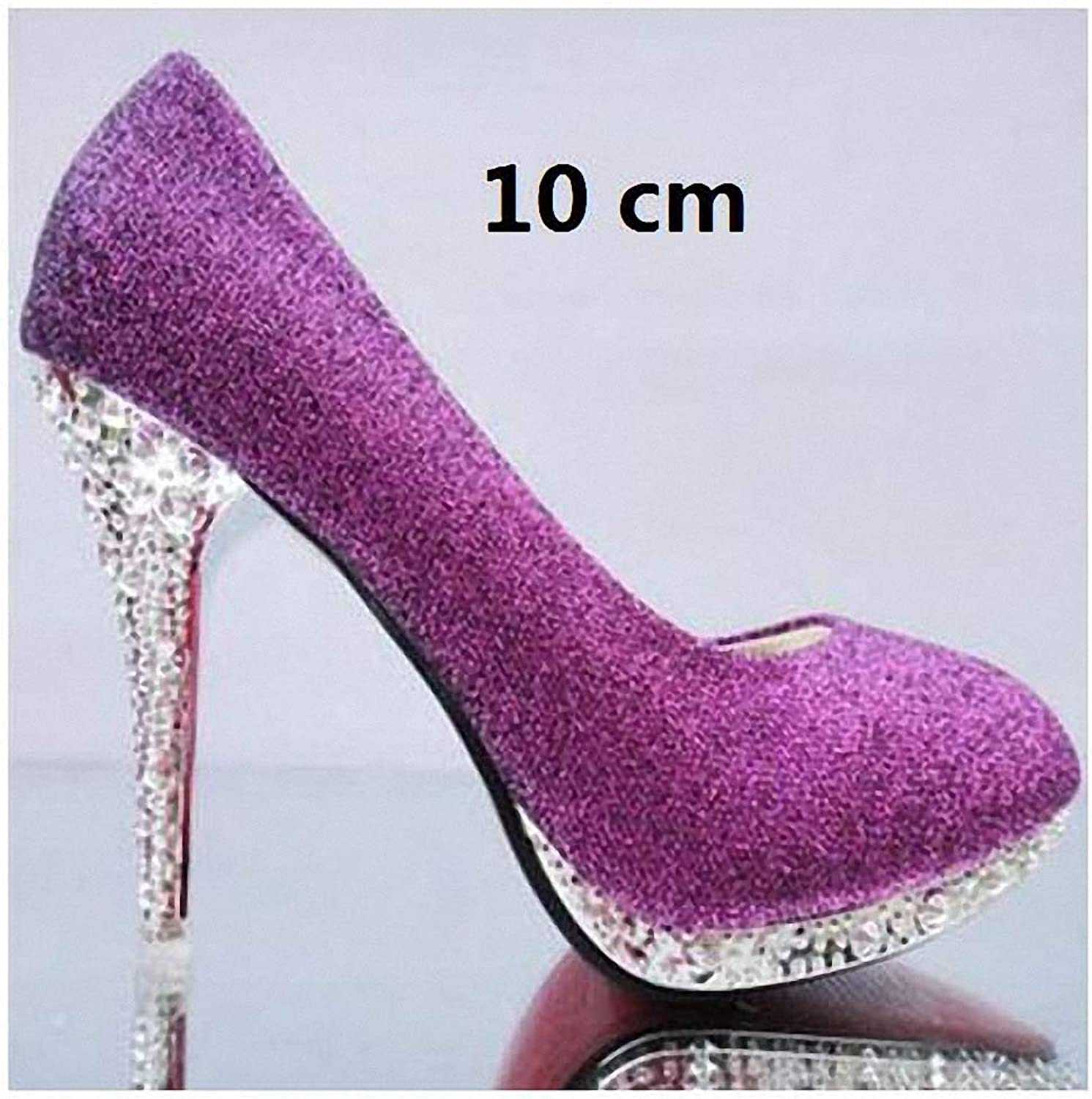 Tebapi Womens High-Heeled Pumps shoes Crystal Women's Wedding shoes Woman Bridal Evening Party Red High Heels shoes Sexy Women Pumps Glitter White Bridal shoes