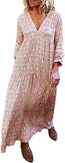 Modaworld Vestiti Estivo da Donna Abito Sciolto Manica Lunga Retro Abiti Lunghi Donna Eleganti Camicetta Largo Casual Esti...