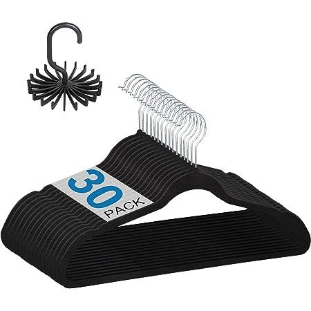 Ollnoos Velvet Clothes Hangers Non-Slip: Space-Saving Black Felt Hanger 30-Pack | Slim Ultra-Thin & Durable Clothing Hangers with 360° Swivel Hook for Coat Suit Shirt