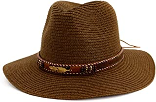 ZXAZBHD Summer Sun Beach Straw Hat UPF 50 Foldable Wide Brim Fishing Hat with Outdoor Caps for Ladies Summer Beach Wide Brim Straw Visor Hat Outdoor,Travel (Color : Brown)
