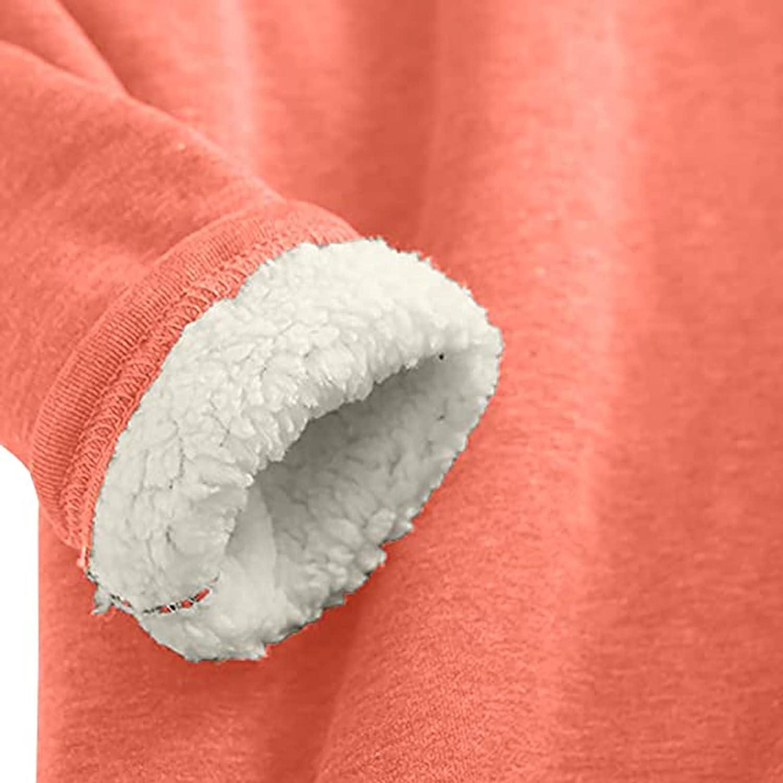 Women Thermal Underwear,Christmas Warm Sherpa Fleece Lined Crewneck Undershirt Pullover Loungewear for Winter