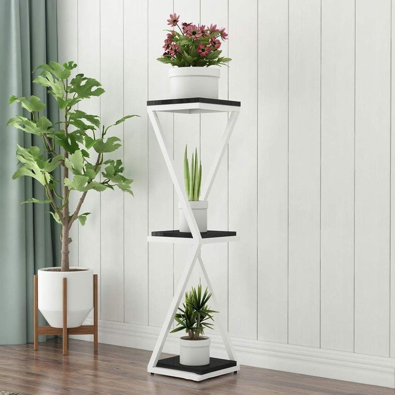 Flower Stand-Metal Plus Wooden Board Multi-Layer Indoor Plant Display Stand, Floor-Standing Multi-Function Pot Rack Rack (color   D, Size   30  30  90CM)